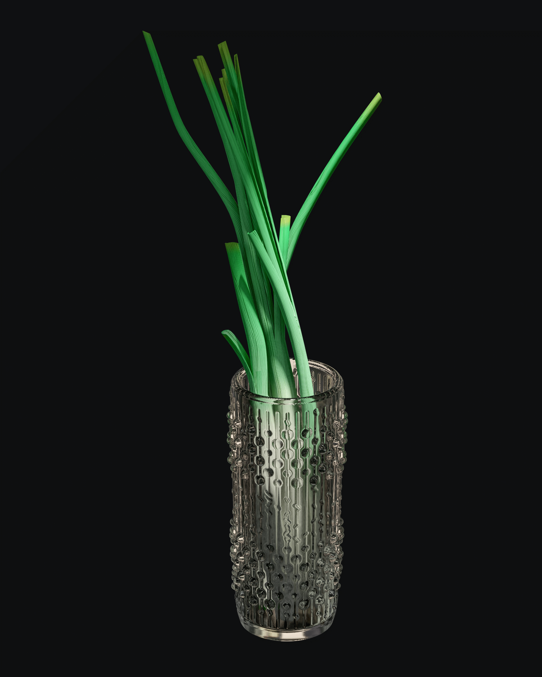 Glass vase with scallions on a black background